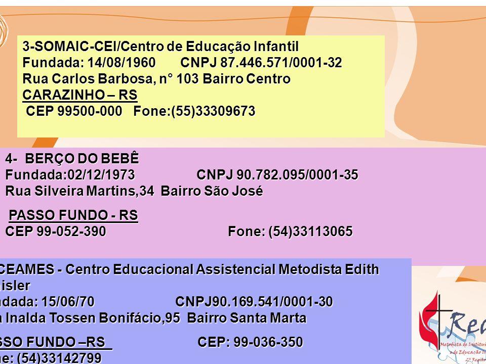6- OSÓRIO - Escola Metodista de Ensino Fundamental Nehyta Ramos Fundada :03/01/1960 CNPJ91.892.612/0001-91 Rua major João Marques,890 Bairro Centro Fundada :03/01/1960 CNPJ91.892.612/0001-91 Rua major João Marques,890 Bairro Centro OSÓRIO - RS OSÓRIO - RS CEP 95520-000 Fone:(51)36631133 nehytaramos@terra.com.br 7- SOMAI- Sociedade Metodista de Amparo à Infância Fundada: 26/12/1962 CNPJ: 90.027.772/0001-00 Rua Bom Jesus, 610 Bairro Bom Jesus PORTO ALEGRE - RS PORTO ALEGRE - RS CEP:91-420-030 Fone: (51)33343312 CEP:91-420-030 Fone: (51)33343312 Creche.somai@terra.com.brCreche.somai@terra.com.br