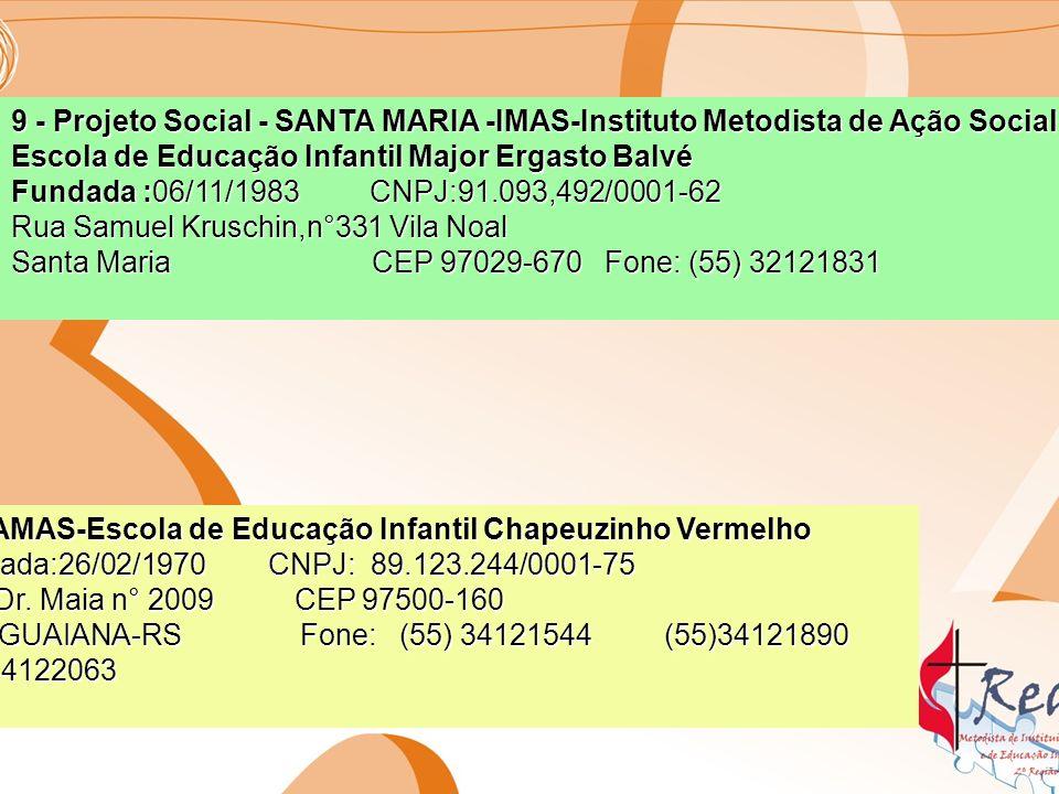 Instituições Sociais de atendimento a crianças, adolescentes, idosos e famílias 11-SANTA MARIA – Lar Metodista Fundada: 24/06/1939 CNPJ 91.095.521/0001-25 Rua:Reverendo Adolfo Ungaretti s/n Bairro Chácara das Flores CEP : 98-043-580 SANTA MARIA - RS Fone: (55)32228487 12-PORTO ALEGRE - LAR OTILIA CHAVES Fundada: 28/04/1956 CNPJ : 9292.989.821/0001-10 Avenida cavalhada n° 3800 PORTO ALEGRE-RS CEP: 91-740-000 Fone: (51) 32492786