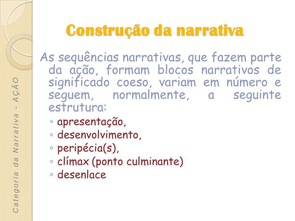 Articulação das sequências narrativas As sequências narrativas podem surgir articuladas de três maneiras diferentes: -Encadeamento -Encaixe -Alternância Categoria da Narrativa - AÇÃO