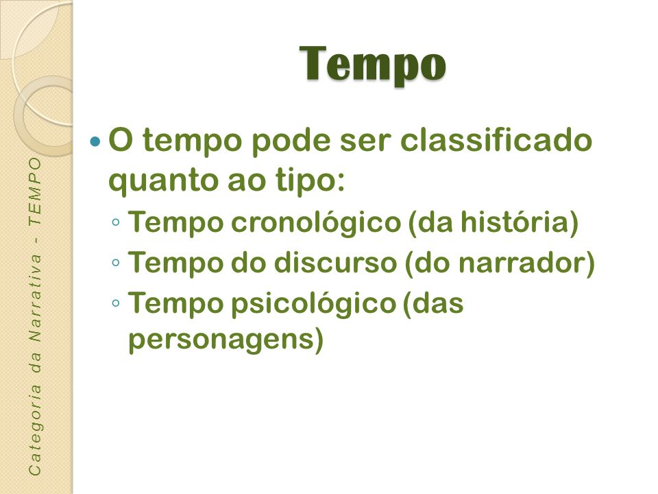 Tempo cronológico ou histórico: é revelado pelos acontecimentos de um certo período da história de uma sociedade referidos no texto.