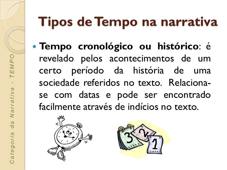 Tipos de Tempo na narrativa Tempo do discurso: resulta da elaboração do tempo da história levada a cabo pelo narrador.