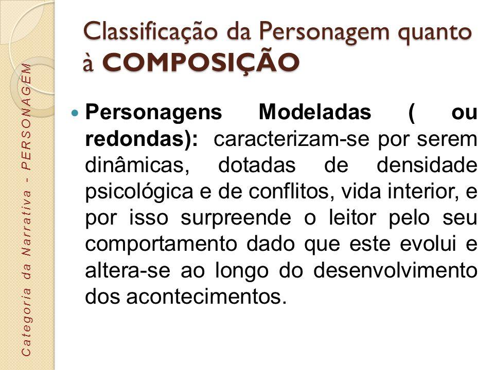 Classificação da Personagem quanto à COMPOSIÇÃO Personagens-tipo: caracterizam-se por que representar um determinado espaço social, um grupo cultural, um estatuto profissional ou religioso, com os padrões e aspetos que lhe estão associados.