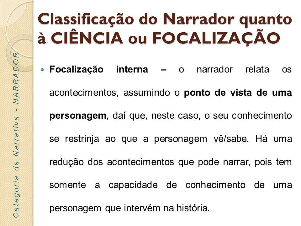 Classificação do Narrador quanto à CIÊNCIA ou FOCALIZAÇÃO Focalização externa – o narrador conhece apenas o que é observável exteriormente, sabendo menos do que a personagem.