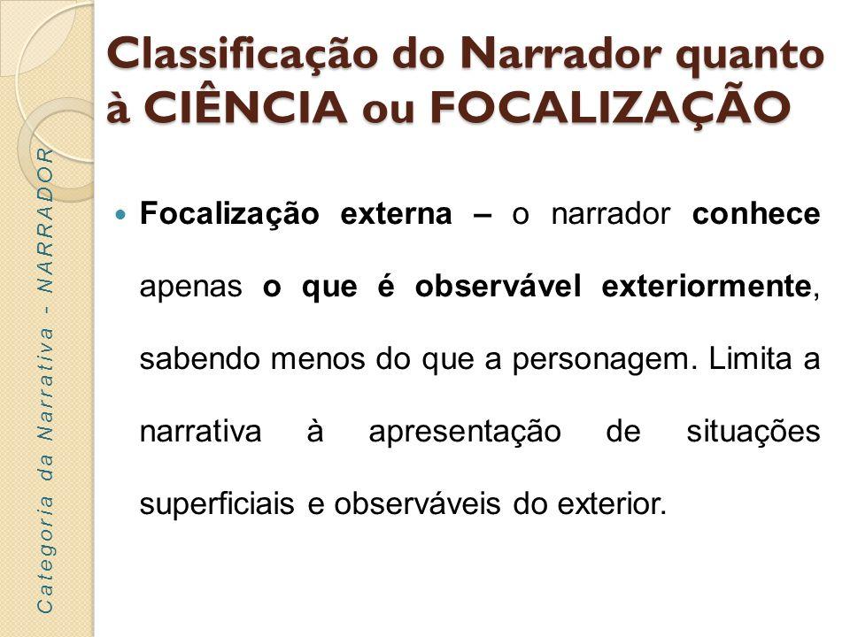 Classificação do Narrador quanto à POSIÇÃO Objetiva – o narrador é imparcial / neutro relativamente ao que conta, não emitindo juízos de valor.