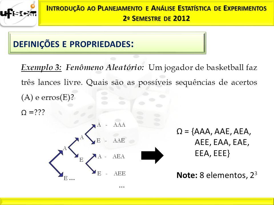 Evento F: O jogador acerta os três lances; Evento G: O jogador erra dois lances; Evento H: O jogador acerta o segundo lance; P(F) = 1/8 P(G) = 3/8 P(H) = 4/8 Ω = {AAA, AAE, AEA, AEE, EAA, EAE, EEA, EEE} Note: 8 elementos, 2 3