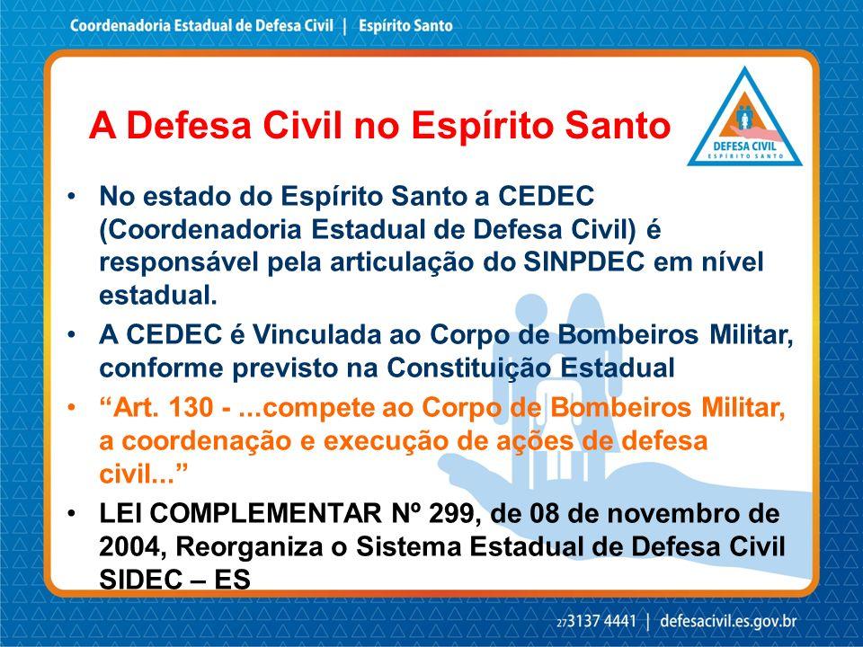 Coordenadoria Estadual de Defesa Civil CEDEC-ES A CEDEC-ES na estrutura do Estado GOVERNO DO ESTADO SESPDSSecretaria ASecretaria B SESPDS PMESCBMESPC CEDEC