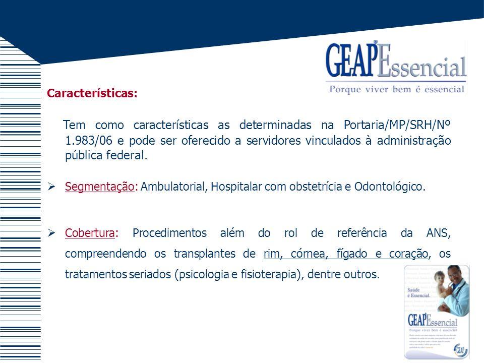 Características: - Programas : Programa Ambulatorial, Programa Hospitalar, Programa Odondológico, Programa de Acesso a Bens e Serviços.