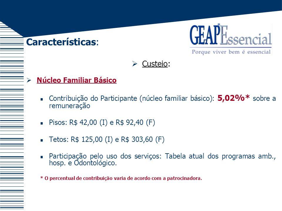Características: Custeio: Exemplo 1 Remuneração = R$1.200,00 R$1.200,00 x 5,02% = R$60,24 Servidor com dependente pagará o piso familiar = R$92,40 Servidor sem dependente pagará = R$60,24
