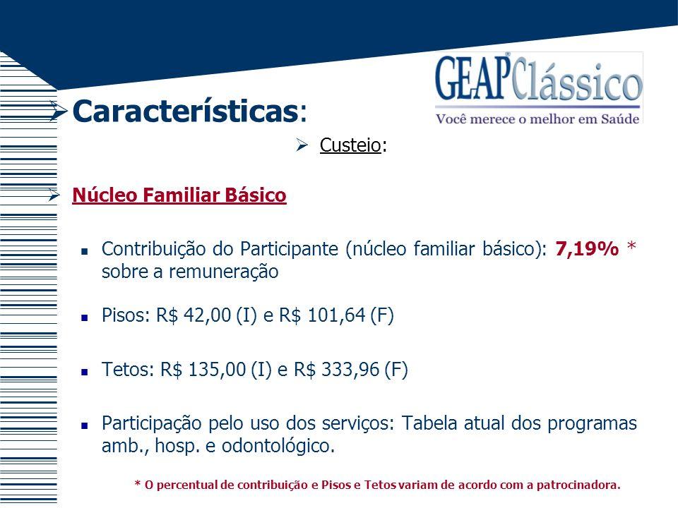 Características: Custeio: Exemplo 1 Remuneração = R$1.200,00 R$1.200,00 x 7,19% = R$86,28 Servidor com dependente pagará o piso familiar = R$101,64 Servidor sem dependente pagará = R$86,28