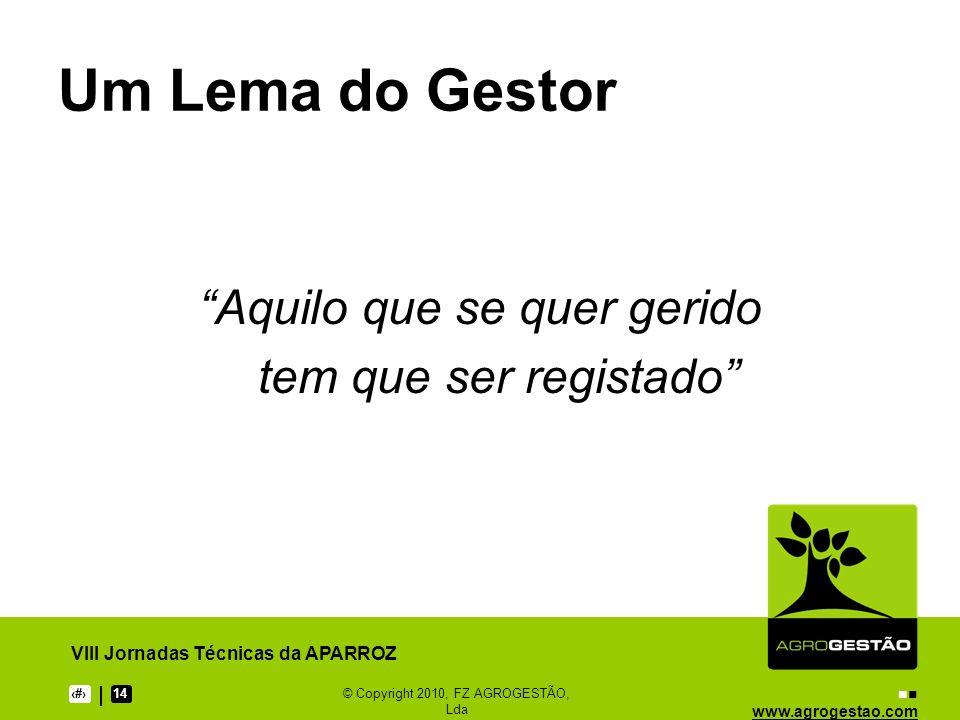 www.agrogestao.com VIII Jornadas Técnicas da APARROZ 714© Copyright 2010, FZ AGROGESTÃO, Lda Análise da Exploração Actividades ProdutivasEstruturaPrivado