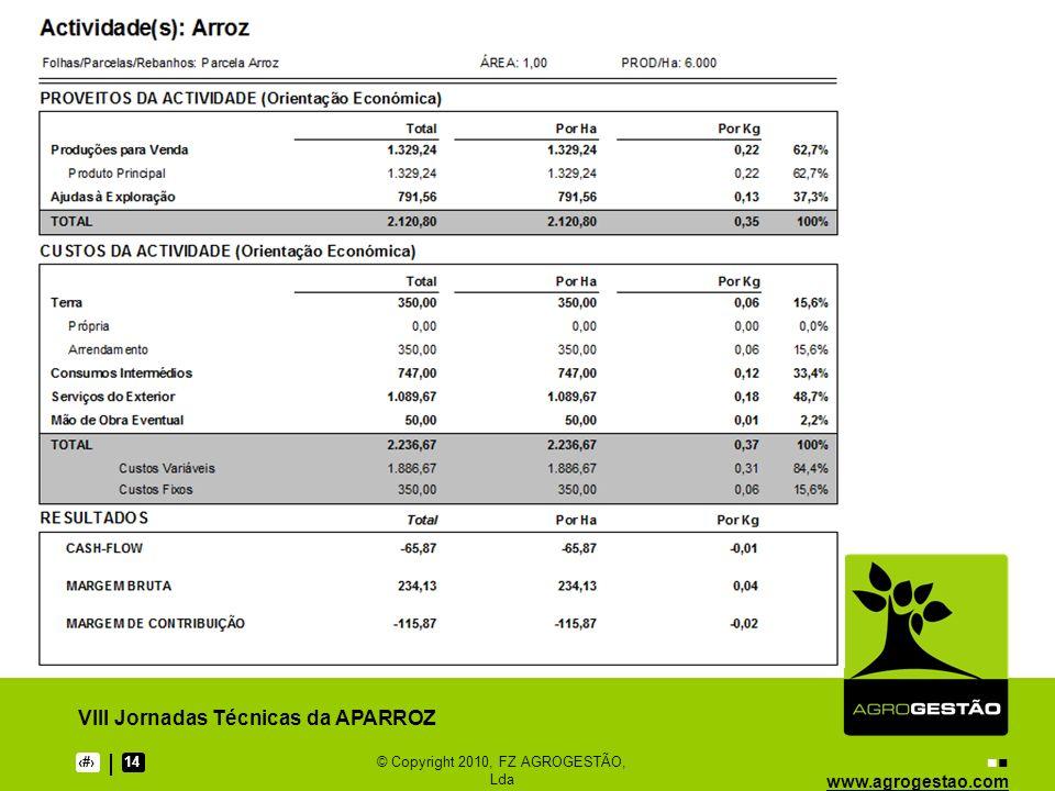 www.agrogestao.com VIII Jornadas Técnicas da APARROZ 914© Copyright 2010, FZ AGROGESTÃO, Lda Análise Crítica de Resultados Todos os factores de produção são remunerados.