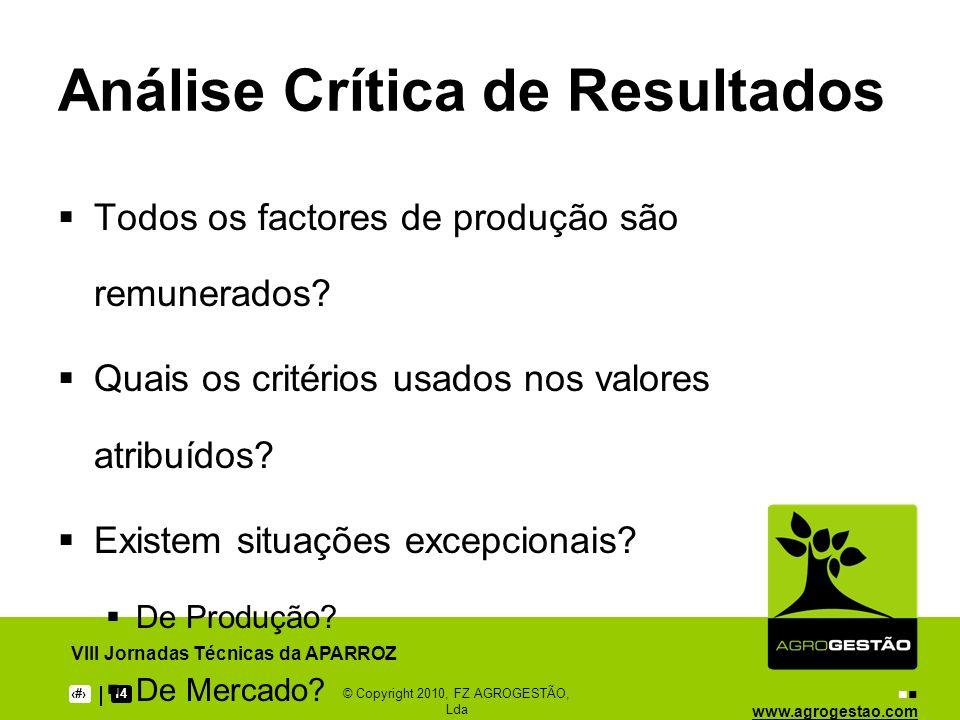 www.agrogestao.com VIII Jornadas Técnicas da APARROZ 1014© Copyright 2010, FZ AGROGESTÃO, Lda Ciclo da Gestão Planeamento Implementação Controlo