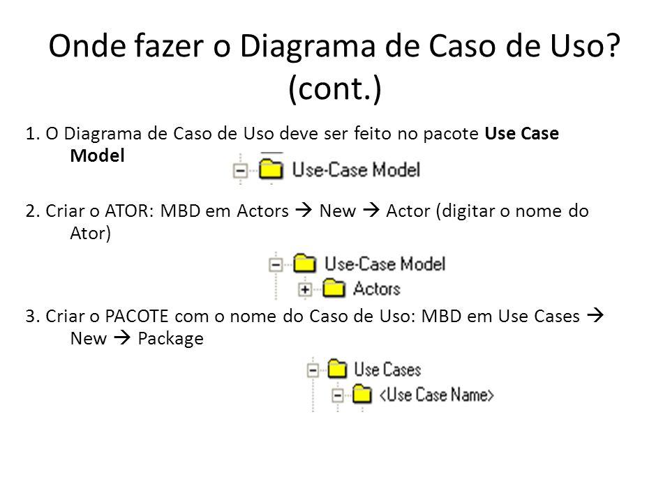 Onde fazer o Diagrama de Caso de Uso.(cont.) 4.