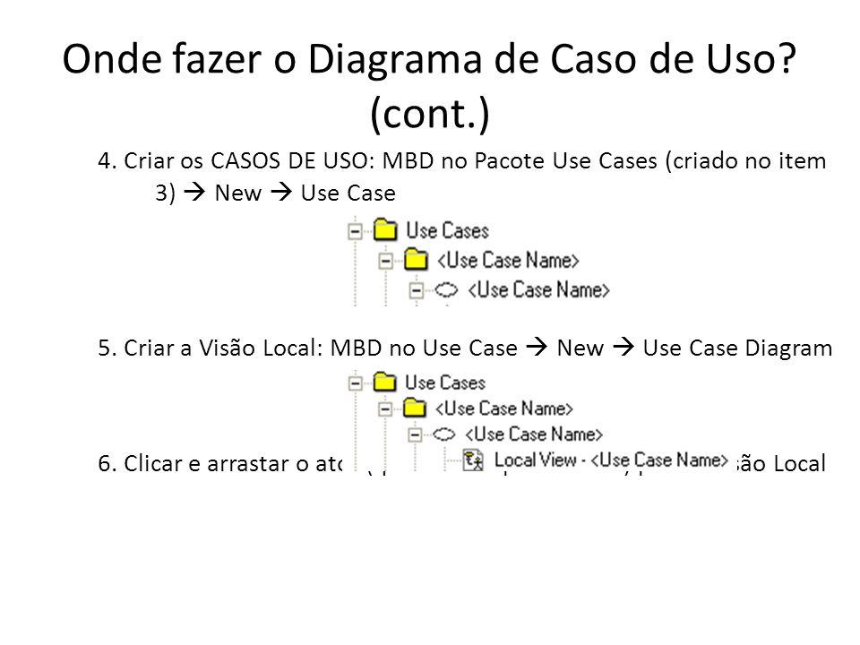 Onde fazer o Diagrama de Caso de Uso.(cont.) 5.