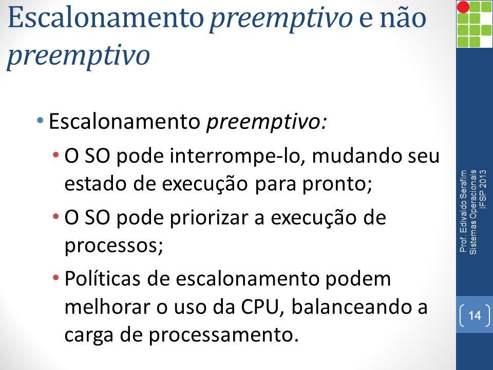 Escalonamento preemptivo e não preemptivo Atualmente a maioria dos SO possuem políticas de escalonamento preemptivos: SO mais complexos; Possibilita a implantação dos critérios de escalonamento.