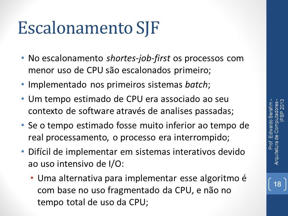 Escalonamento SJF Na sua concepção inicial era um escalonamento não preemptivo; Sua vantagem em relação ao FIFO é a redução do tempo de turnaround; Pode ocorrer starvation em processos com tempo de processador muito alto ou CPU-bound.