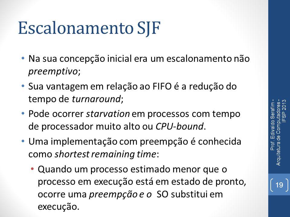 Escalonamento cooperativo O escalonamento cooperativo busca implementar preempção em processos que não a possuem; FIFO e SJF não preemptivo; Processos em execução podem voluntariamente liberar a CPU para outros na fila de escalonamento; O processo em execução verifica a fila de escalonamento e decide se deve deixar a CPU ou não.