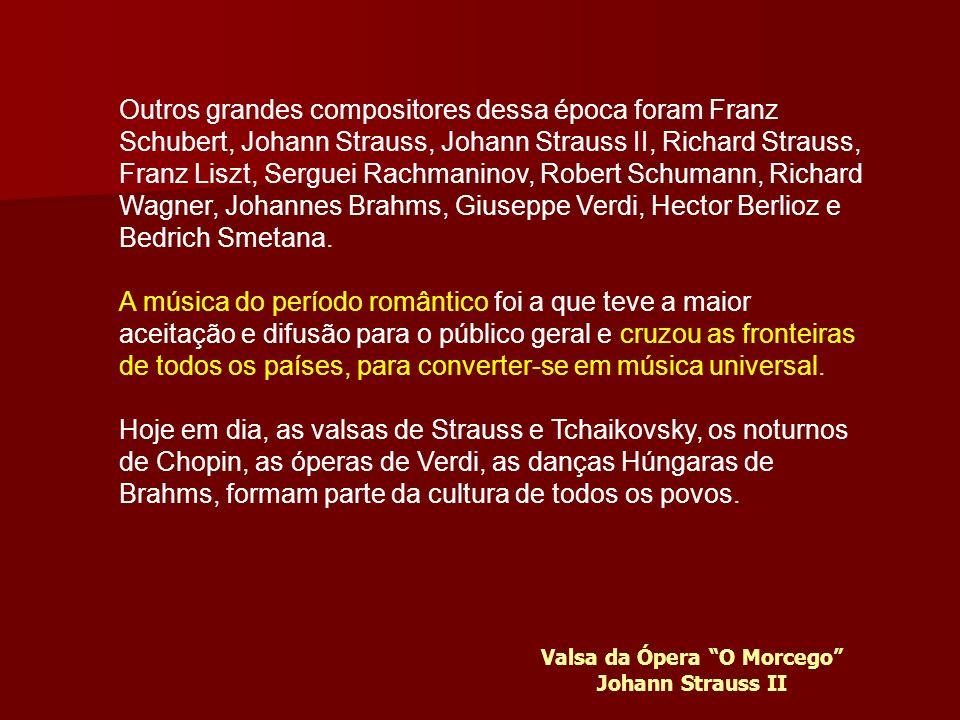 Outros grandes compositores dessa época foram Franz Schubert, Johann Strauss, Johann Strauss II, Richard Strauss, Franz Liszt, Serguei Rachmaninov, Robert Schumann, Richard Wagner, Johannes Brahms, Giuseppe Verdi, Hector Berlioz e Bedrich Smetana.