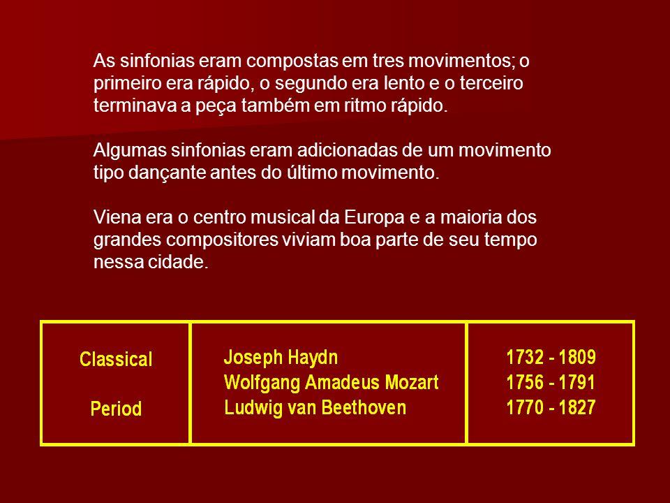 As sinfonias eram compostas em tres movimentos; o primeiro era rápido, o segundo era lento e o terceiro terminava a peça também em ritmo rápido.