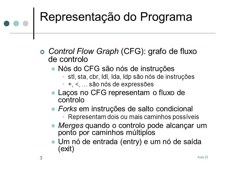 Aula 23 4 ldl i < lda + ldp x ldl i sta ldl i ldp v ldp N cbr entry exit while (i < N) v[i] = v[i]+x; Laços de fluxo de controlo Laços entre Instruções e expressões Exemplo: CFG