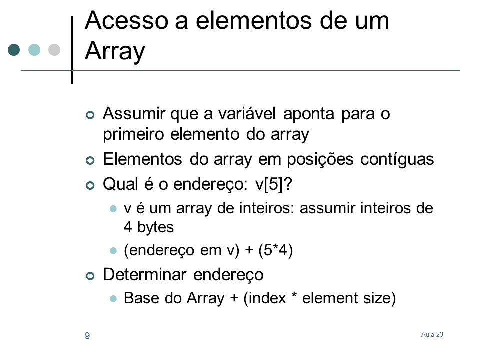 Aula 23 10 Exemplo: v[5]+x lda + ldp Descritor de parâmetro v (2) Descritor de parâmetro de x (1) 5 ldp ldp 2 * 54 + ld 0 + ldp 1 Conversão de nós lda para nós ld Determinar endereço Base + (index * element size) ld do endereço Offset de ld é 0