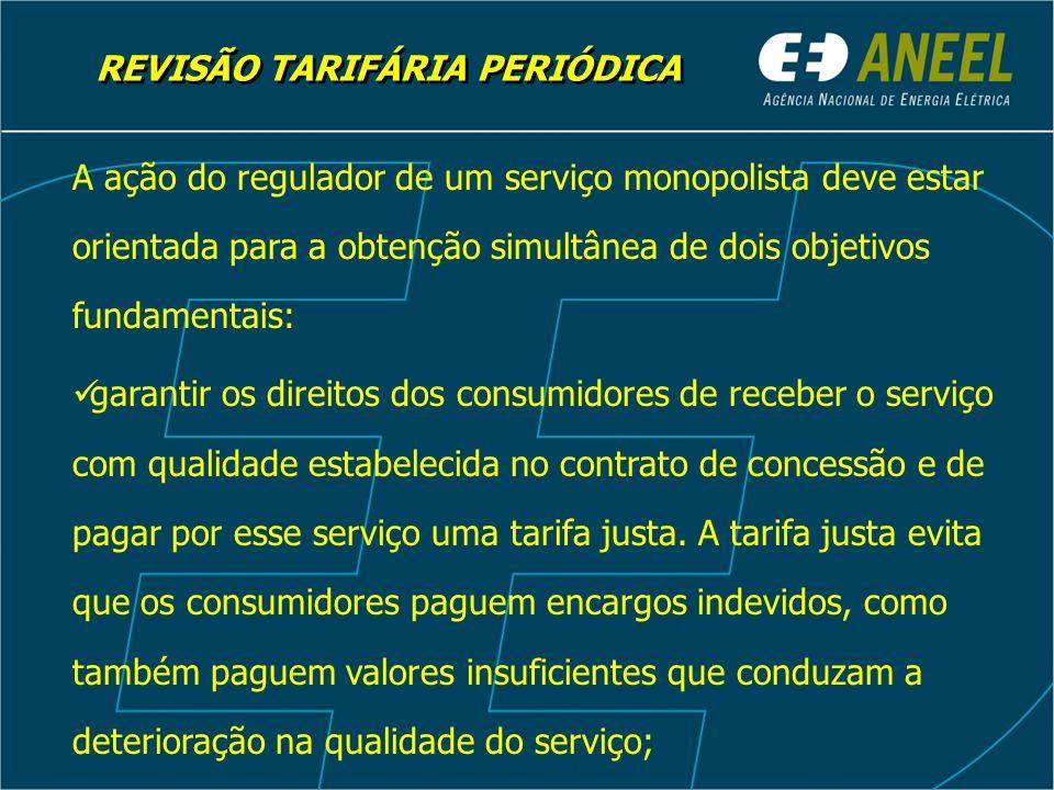 REVISÃO TARIFÁRIA PERIÓDICA garantir os direitos dos prestadores do serviço que atuam com eficiência e prudência de obter ganhos suficientes para cobrir custos operacionais e obter adequado retorno sobre o capital investido.