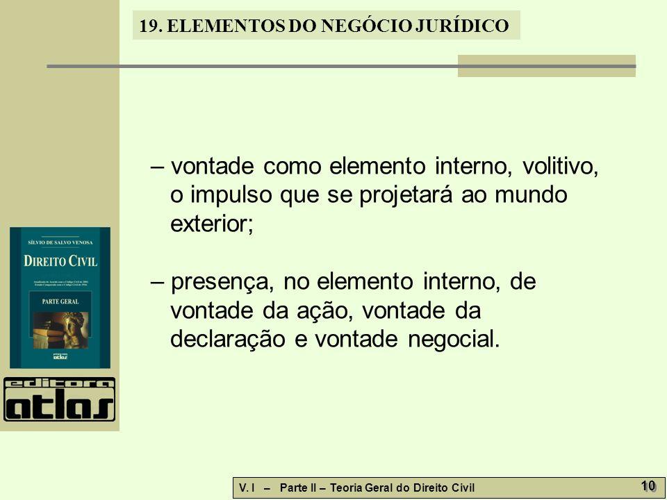 19.ELEMENTOS DO NEGÓCIO JURÍDICO V. I – Parte II – Teoria Geral do Direito Civil 11 19.2.2.