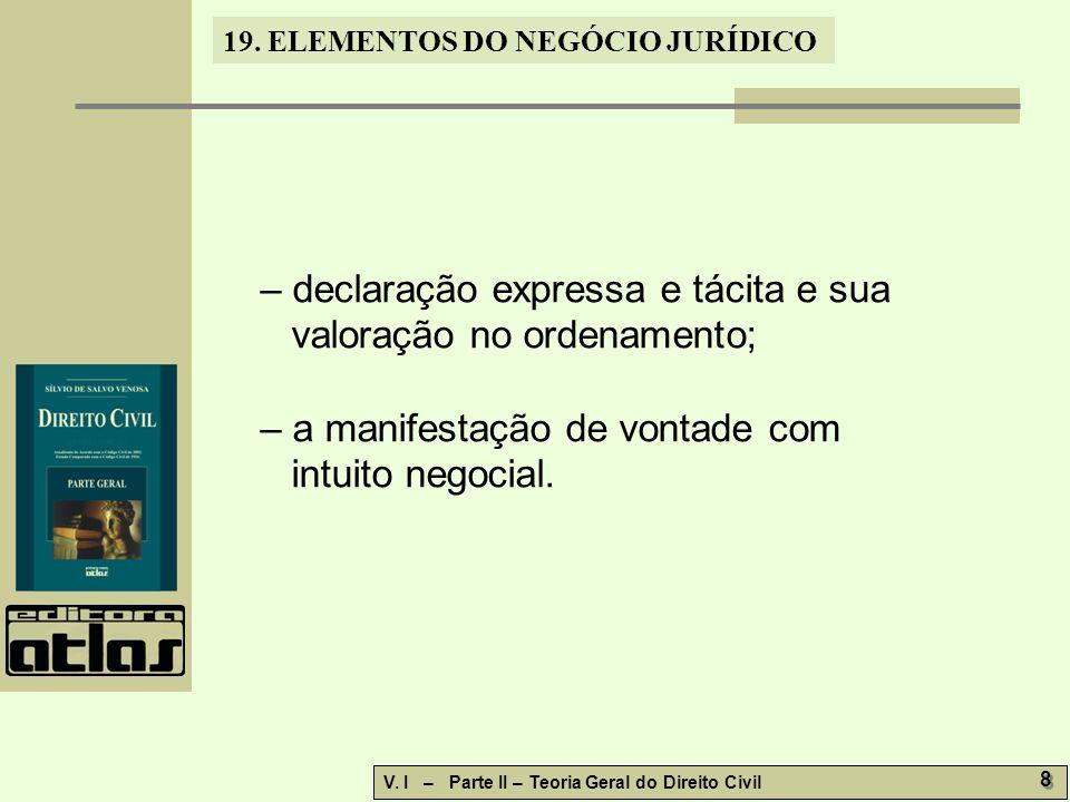19.ELEMENTOS DO NEGÓCIO JURÍDICO V. I – Parte II – Teoria Geral do Direito Civil 9 9 19.2.1.