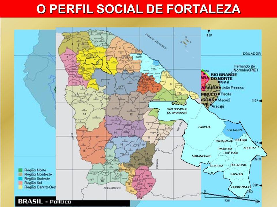 A Região Metropolitana de Fortaleza é formada por 13 municípios População do Municipal 2.374.944 População da Região Metropolitana 3.349.826 Homens: 46,80% / Mulheres: 53,20% 46,5% da população urbana do Ceará vive em Fortaleza Índice de Gini: 0,66 IDH: 0,78 Longevidade: 69,6 Mortalidade infantil: 34,6/1000NV Taxa de fecundidade: 2,2 filhos/mulher % de mulheres chefes de família sem cônjuge e com filhos menores de 15 anos: 6,91 O PERFIL SOCIAL DE AQUIRÁZ População do Municipal 69.343 hab.