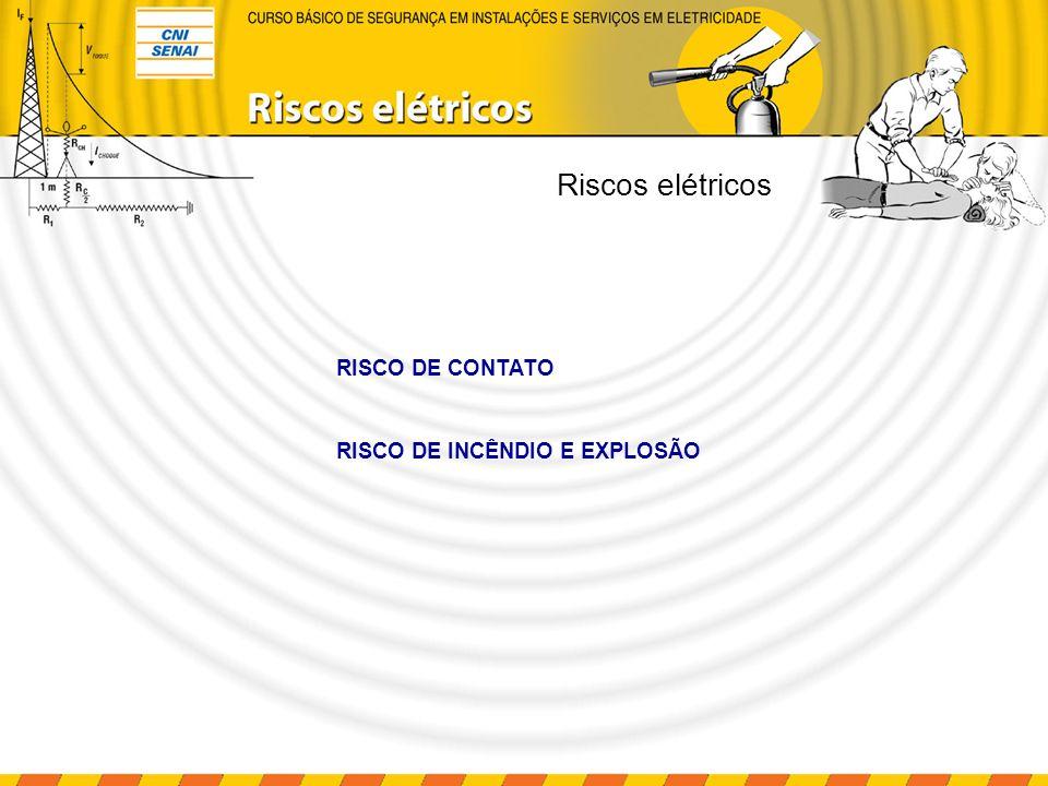 Riscos elétricos É o contato de pessoas ou animais com partes normalmente energizadas (partes vivas da instalação, condutores, conexões).