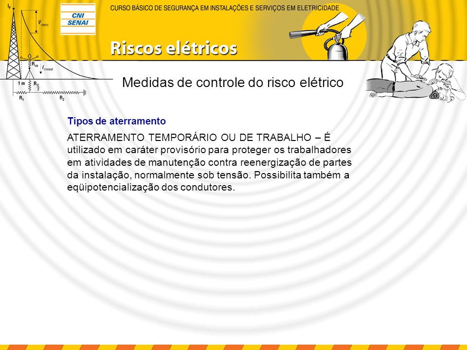 Instalações e serviços em eletricidade – aterramento Causas: Indução Falha de isolamento Proteção: Manutenção Aterramento Corrente de fuga (l 1 ) Medidas de controle do risco elétrico MOTO R I I1I1
