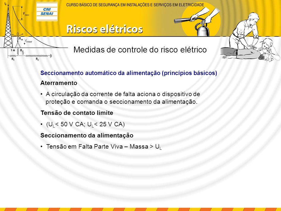 Dispositivo DR Princípio de funcionamento: Detectar correntes de fuga do circuito elétrico; Atuar, interrompendo o circuito, dentro de parâmetros predefinidos; Parâmetros básicos: Corrente de fuga: 30 mA Tempo de interrupção: 30 ms Medidas de controle do risco elétrico