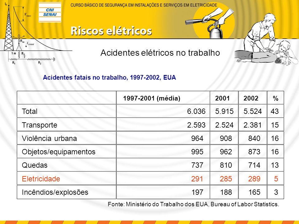 Setor elétrico, Brasil, 2002 Acidentes fatais GeralTípicosTrajetoEmpreiteirasTerceiros* 41623855 330 * Terceiros são os membros da população que não são empregados do setor de energia elétrica mas que interagem com as redes elétricas do setor.