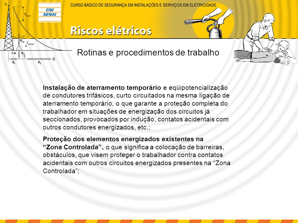 Rotinas e procedimentos de trabalho Instalação da sinalização de impedimento de energização com etiquetas ou placas contendo avisos de proibição de religamento, como: HOMENS TRABALHANDO NO EQUIPAMENTO, NÃO LIGUE ESTA CHAVE.