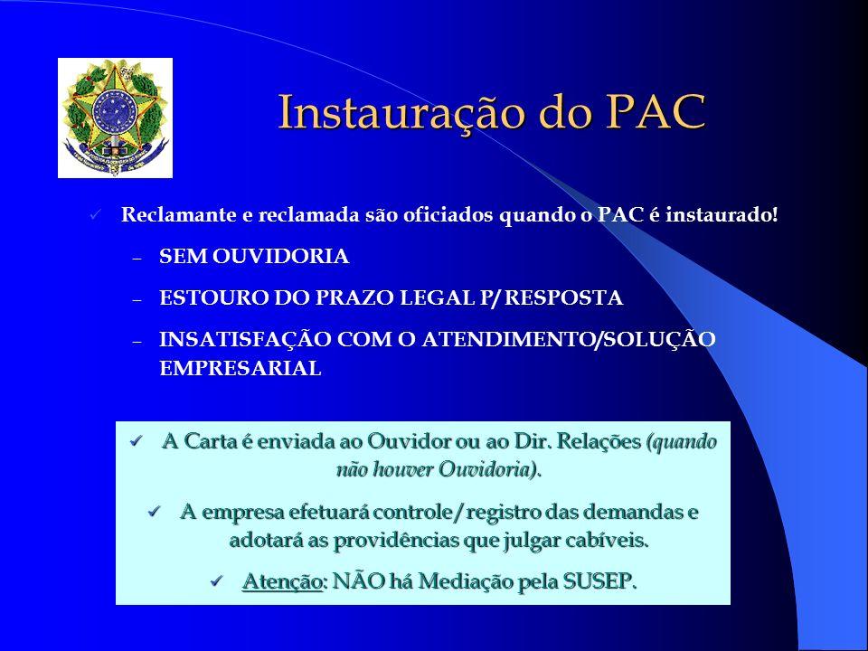 Autonomia do Processo de Denúncia Da instrução à análise pelo DEFIS O PAC, uma vez instruído, ganha vida própria e não poderá ser arquivado quando houver Indícios de irregularidade, mesmo a pedido do reclamante.