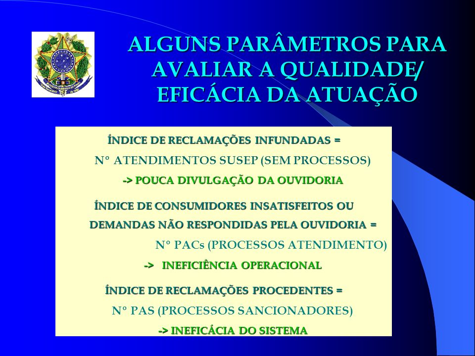 ESTATÍSTICAS x ÍNDICES ATUAÇÃO OUVIDORIAS AS ESTATÍSTICAS APONTADAS SERVIRÃO DE BASE PARA FORMULAÇÃO DOS ÍNDICES DE MONITORAMENTO DA QUALIDADE DA ATUAÇÃO DAS OUVIDORIAS RECONHECIDAS, VISANDO A REAVALIAÇÃO PERIÓDICA DE SUA EFICÁCIA E A MANUTENÇÃO/SUSPENSÃO DAS PRERROGATIVAS.
