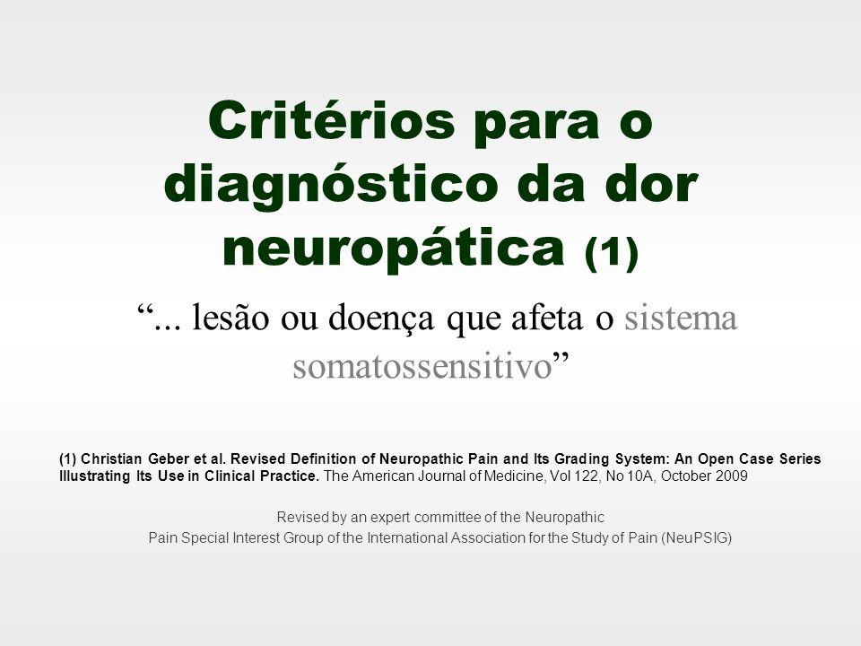 4 Critérios 1.Dor com distribuição anatômica convincente 2.