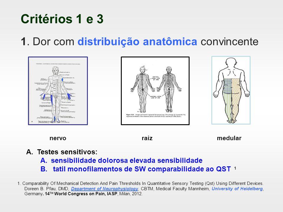 Perda de aferências sensitivas discriminativas: neurocondução rotineira Polineuropatia sensitiva com pés queimantes padrão comprimento dependente Sindrome do túnel do carpo: o IV dedo é o mais sintomático Desaferentação discriminativa (Aβ) grossas