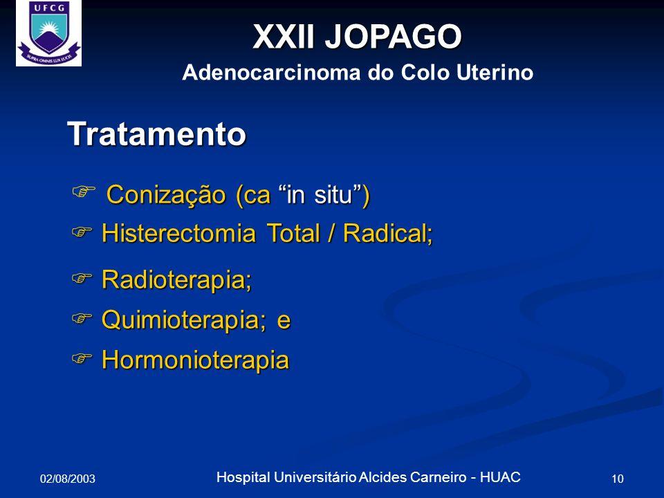 02/08/2003 11 Hospital Universitário Alcides Carneiro - HUAC Seguimento e prognóstico Colposcopia + citologia 3/3 meses (1 o.