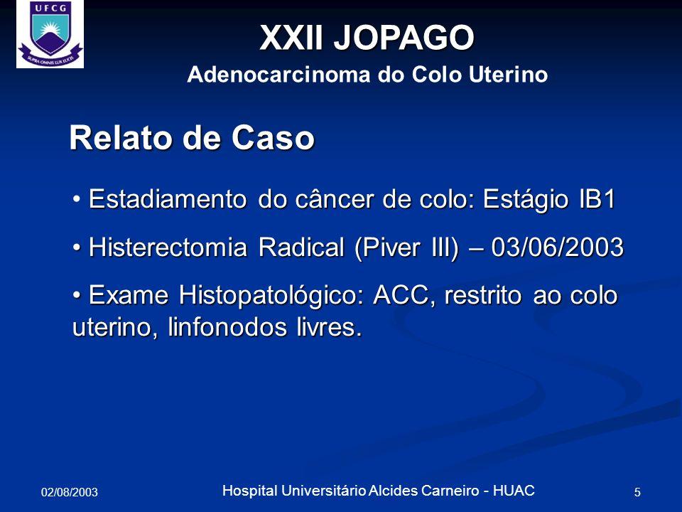 02/08/2003 6 Hospital Universitário Alcides Carneiro - HUAC XXII JOPAGO Adenocarcinoma do Colo Uterino