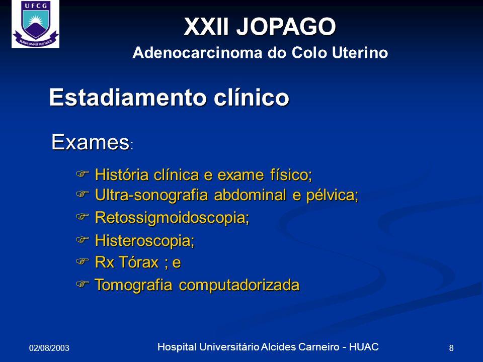 02/08/2003 9 Hospital Universitário Alcides Carneiro - HUAC Estadiamento clínico Estádio mais frequente: IB CA in situ: raro; e CA in situ: raro; e Metástases Linfonodais: 15% (IB) e 40% (II).