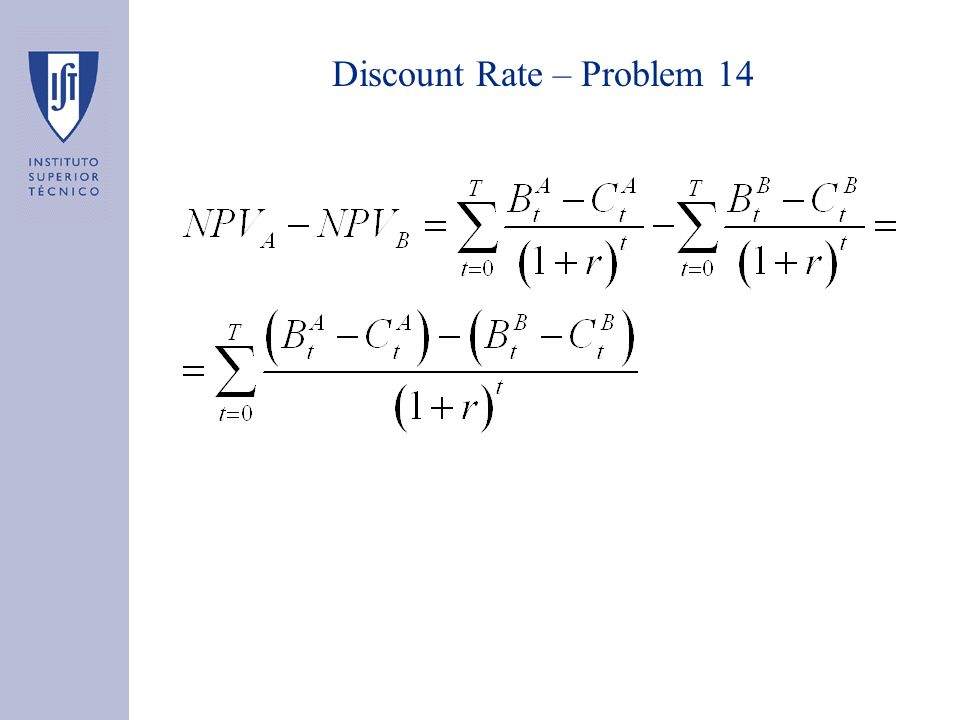Discount Rate – Problem 15 Assumptions on values are correct.