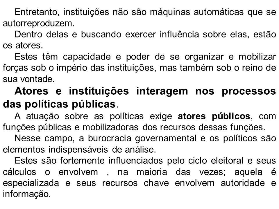 Mas também existem atores privados, que podem influenciar políticas públicas.