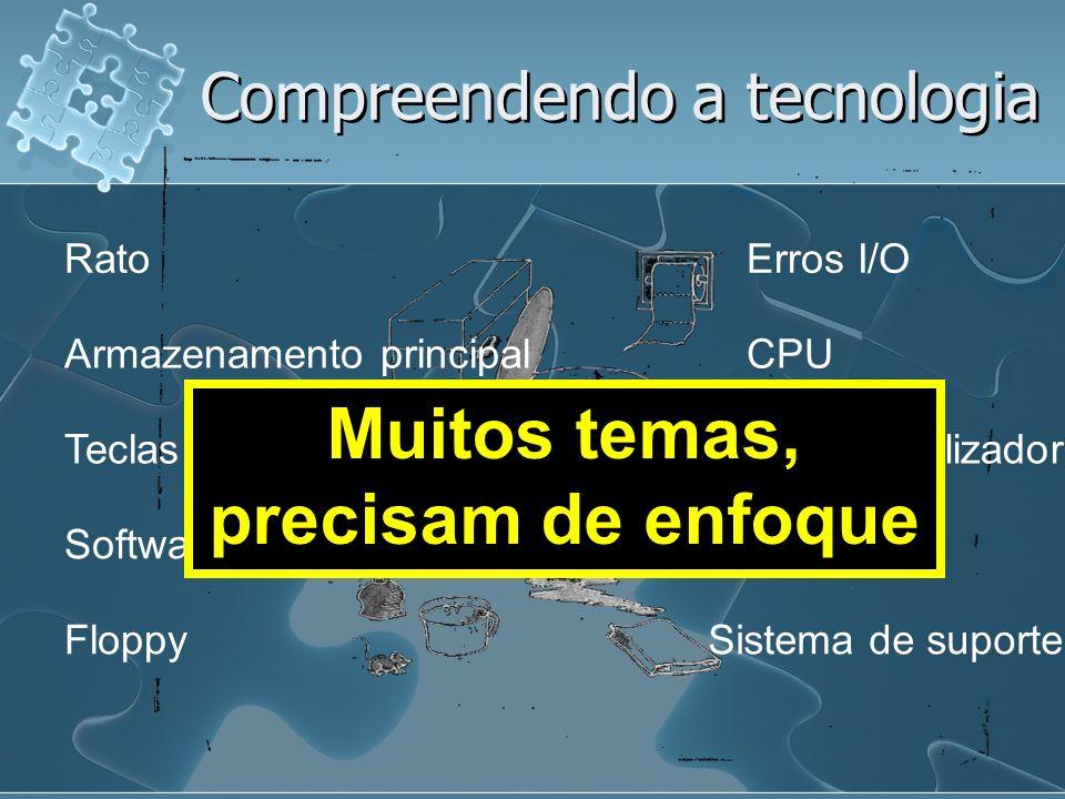 Compreendendo a tecnologia Floppy Interface utilizador CPU Erros I/O Sistema de suporte Software Rato Depurador Teclas de função Armazenamento principal Muitos temas, precisam de enfoque
