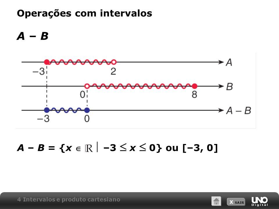 X SAIR Operações com intervalos B – AB – A B – A = {x 2 x 8} ou [2, 8] 4 Intervalos e produto cartesiano