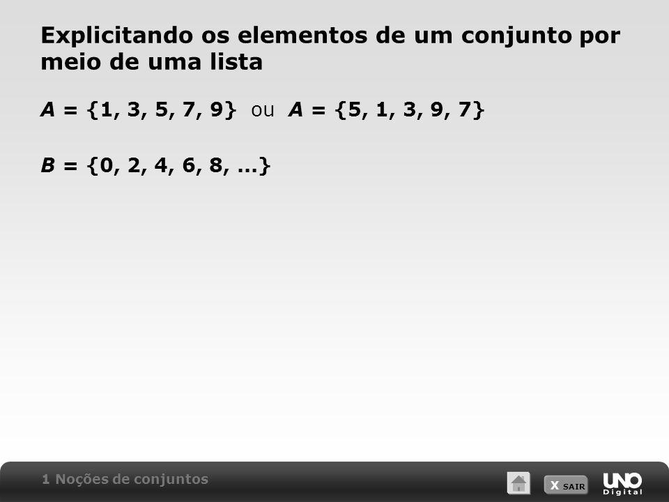 X SAIR Uma propriedade dos elementos A = x | x é um número ímpar positivo menor que 10 A =,,,, 1 A 2 A 1 Noções de conjuntos Diagrama de Venn