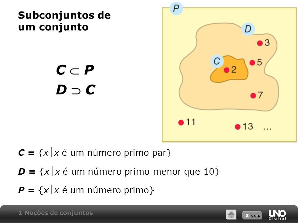 X SAIR Complementar de um conjunto A = {0, 1, 2, 3, 4, 5,...} B = {0, 2, 4, 6, 8, 10,...} Complementar do conjunto A em relação a B é o conjunto formado pelos elementos que pertencem a A e não pertencem a B.