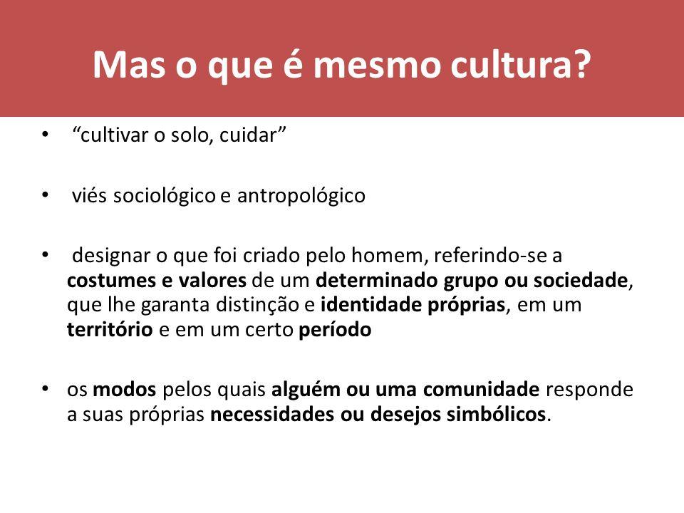 Mas o que é mesmo cultura.