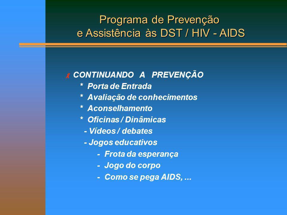 Atividades Porta de Entrada Palestra/debate sobre DST/HIV/AIDS, tuberculose, higiene, cidadania; Distribuição de preservativos; Avaliação inicial de saúde (exame admissional); Encaminhamento para tratamentos especializados.
