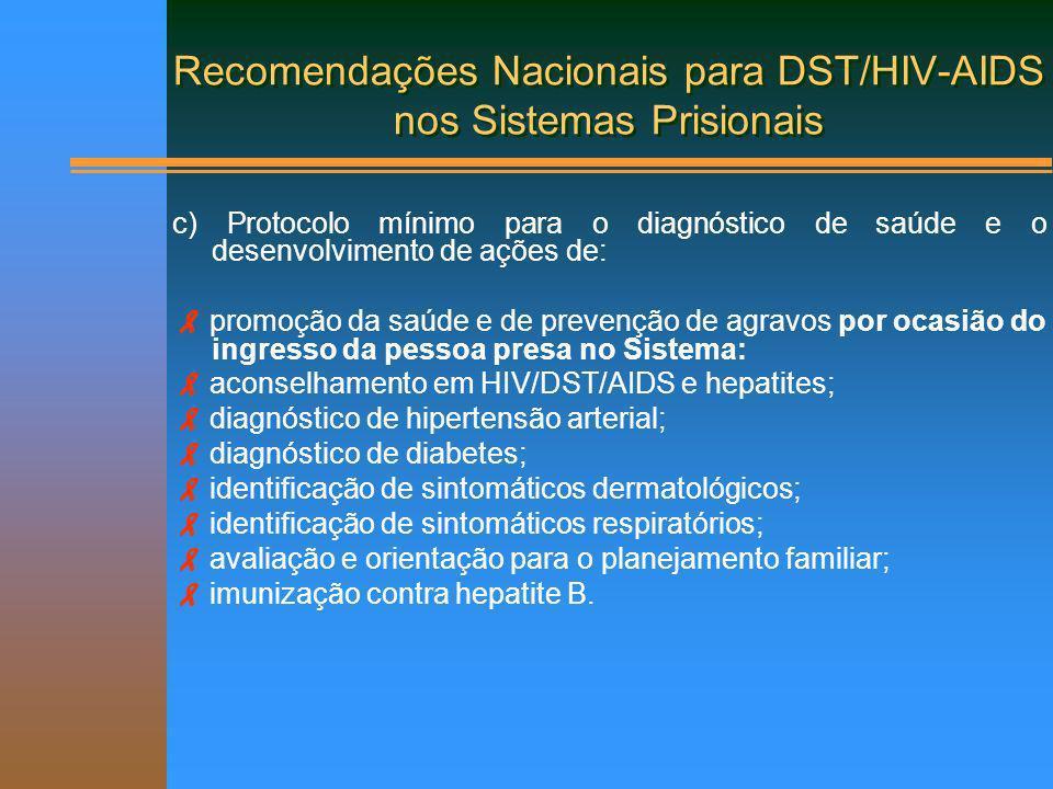 Metas Nacionais para DST/HIV-AIDS nos Sistemas Prisionais Resultados esperados e metas: DST/HIV/AIDS e hepatites.